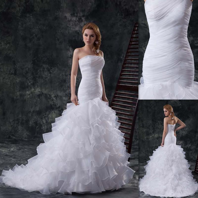 13872ebc659 Wholesale Preowned Wedding Dresses Corset UK Mermaid White Organza Strapless  2015 Custom Made Bridal Gowns For Brides Vestidos De Casamento Plus Size ...