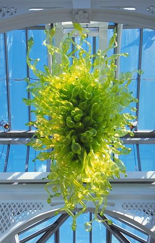 Vida Beactiful Primavera Techo verde Decoración Colgante alto Fuente de luz LED 100% Vidrio soplado a mano Chihuly Arte Decoración Lámpara de cristal Lámpara