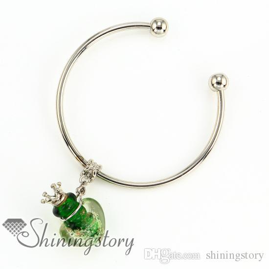 heart glitter luminous metal lampwork glass jewelry scents essential oil diffuser bracelet bottle jewelry bottle pendant