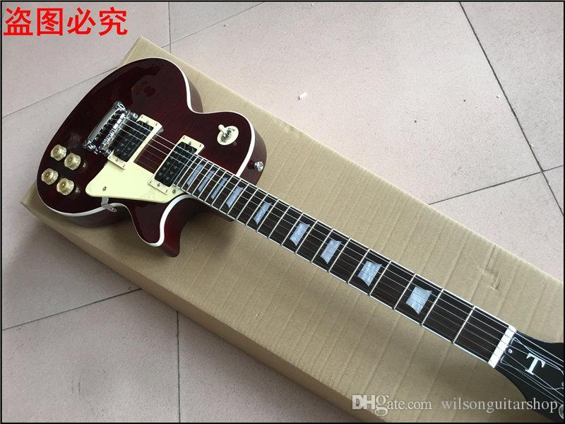 Yeni standart LP ÖZEL MAĞAZA şarap kırmızı elektro gitar, kaplan alev standart, Katı maun vücut Gerçek fotoğraf gösterileri
