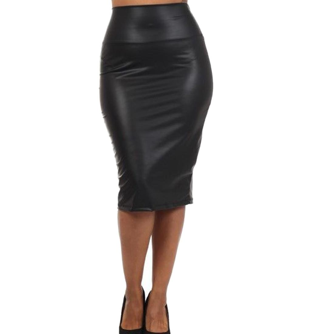 2017 Women Wiggle Bodycon High Waisted Mini Faux Leather Pencil ...