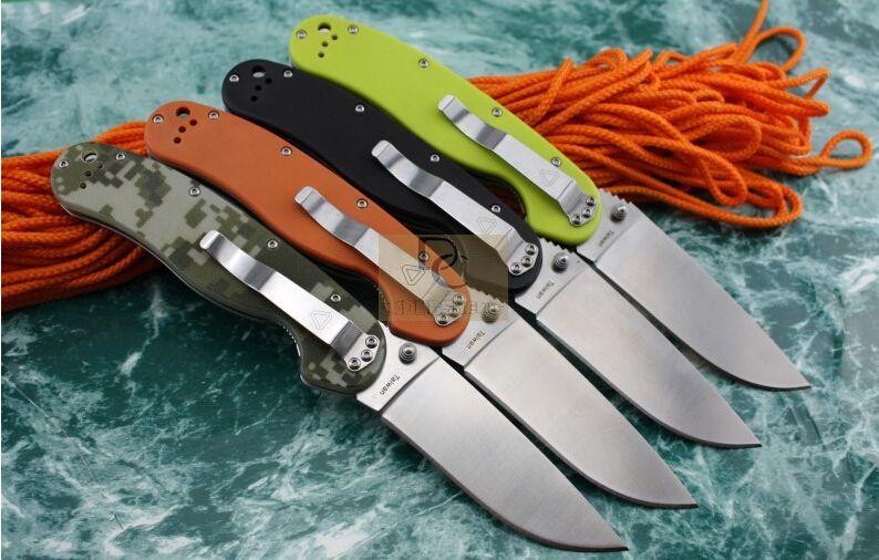 뉴 온타리오 RAT 모델 1 빅 사이즈 접이식 칼 AUS-8 블레이드 6 색 G10 핸들 고품질 원작 상자 캠핑 생존 EDC