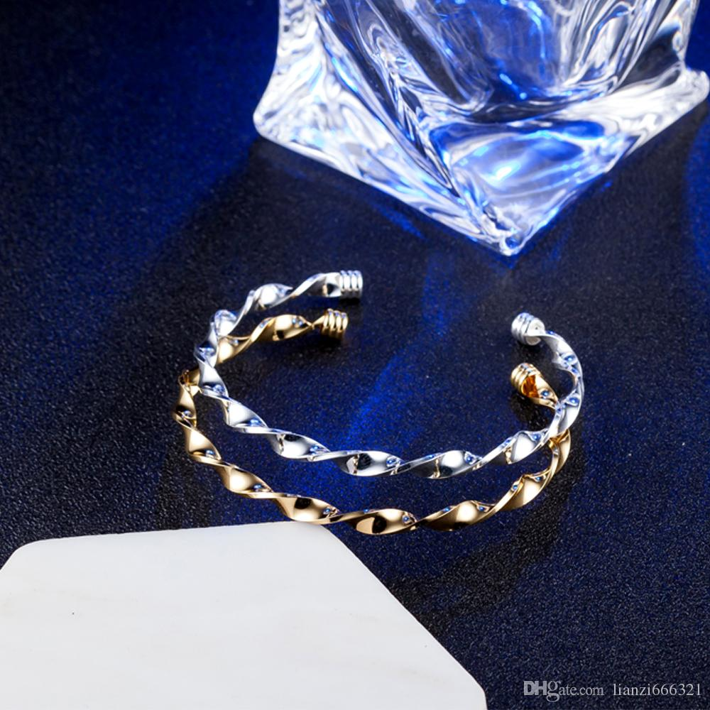 hot gift factory price 925 silver charm bangle Twisted 18K gold bracelet fashion jewelry 1829