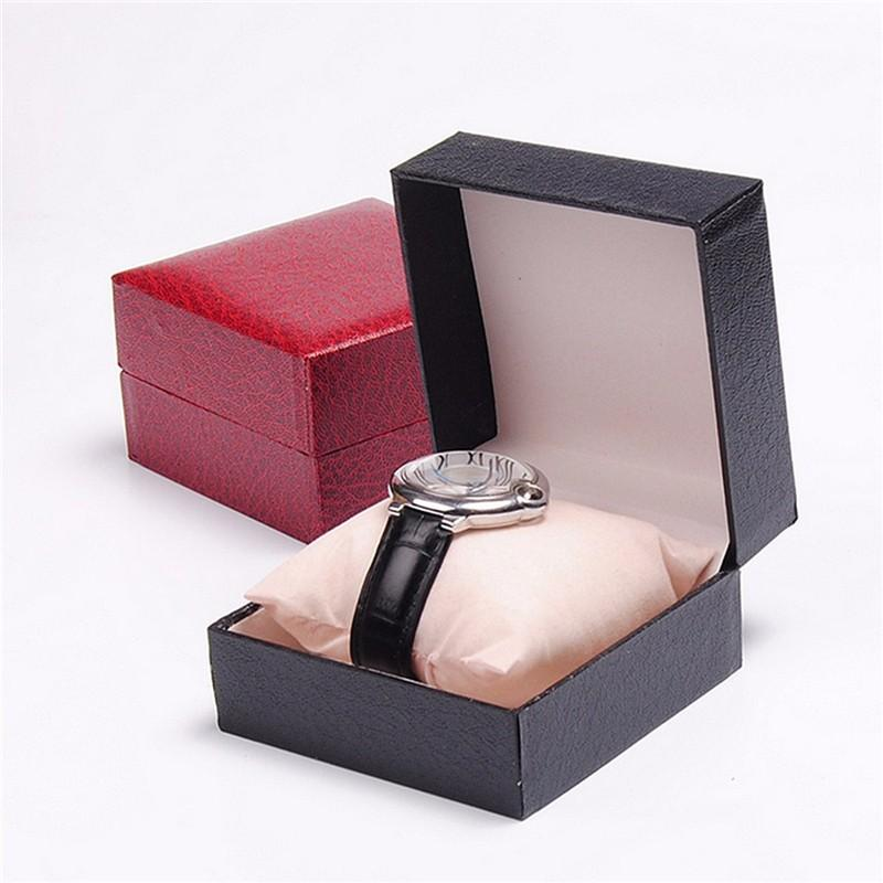 New Watch Paper Box Litchi Embossing Watches Case Durable Present