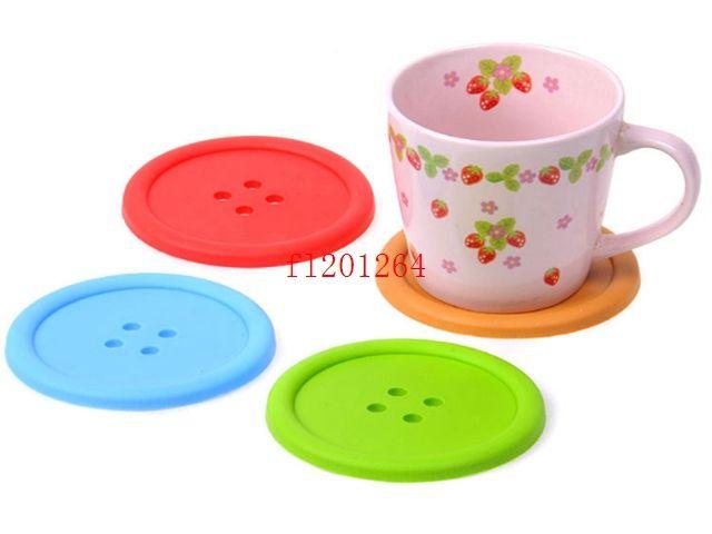 200 шт./лот силиконовые кнопки подставки Кубок каботажное судно стол чай кружка подушка коврик Коврик для напитков держатели смешать цвета