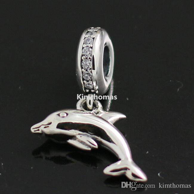 100% 925 Sterling Silver Playful Dolphin Dangle Charm Bead with Cz Fits European Pandora Style Jewelry Bracelets Necklaces & Pendants