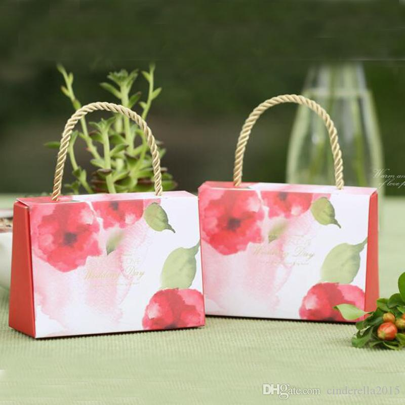 Cute Handbag Style Wedding Gift Box with Handle Lovely and Pupular Wedding Party Bag for Candy Green Purple and Red Color