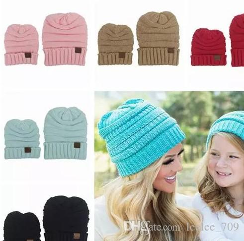 634110be066 2017 Baby Beanie Hats Winter Hats For Women Kids Crochet Hats Wholesale  Children Knit Hat Family Matching Set Mom And Daughter Dad Wool Cap UK 2019  From ...
