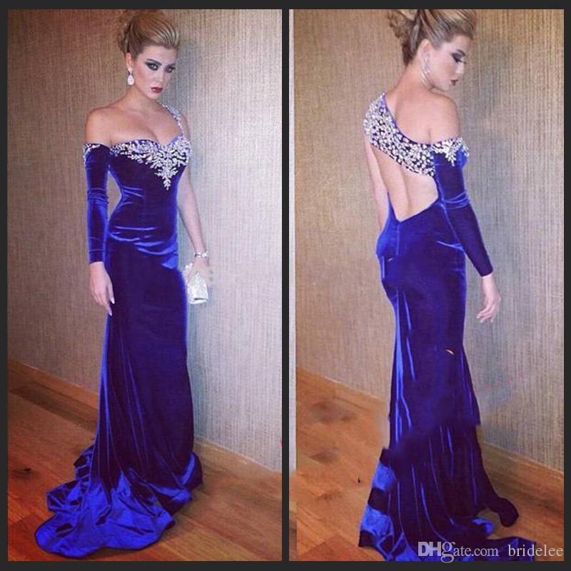 2015 new fashion mermaid one shoulder royal blue prom dresses