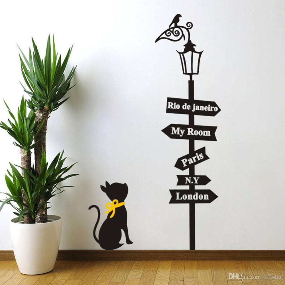 Black Cat Under The Birds Lamp Wall Stickers London Paris My Room Signs  Decals Childrenu0027S Room Wall Mural Home Decor Room Kids Ceramic Discount Wall  Decals ...