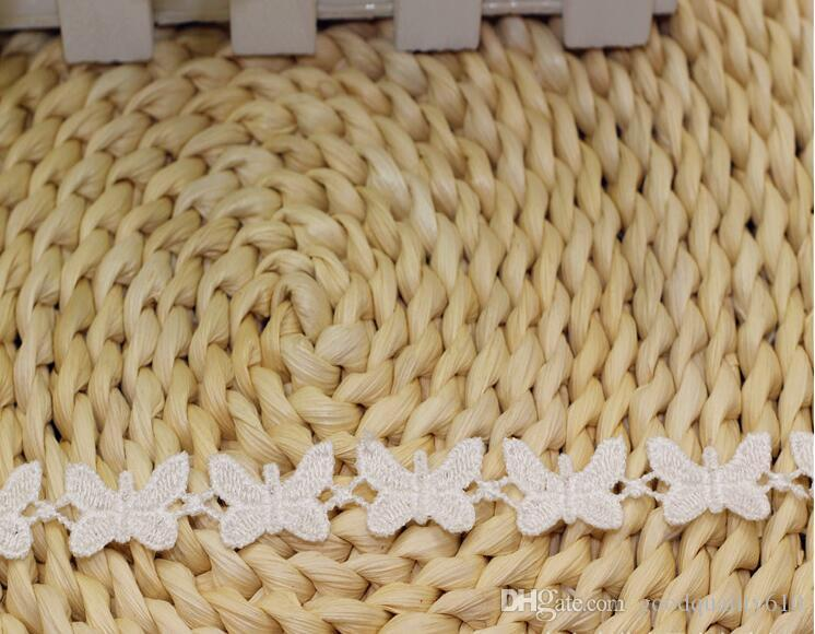 """30 Yard Width 0.6"""" White Butterfly Shape Lace Cotton Fabric Trim For DIY Bridal wedding Doll Cap"""