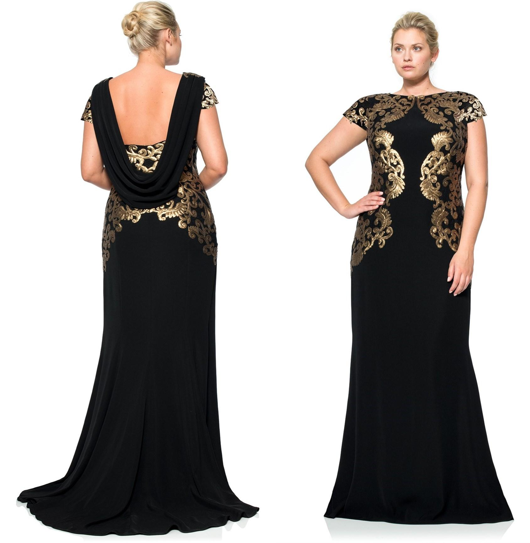 Plus Size 2015 Black Evening Dress Bateau Neck Short Sleeve Floor ...