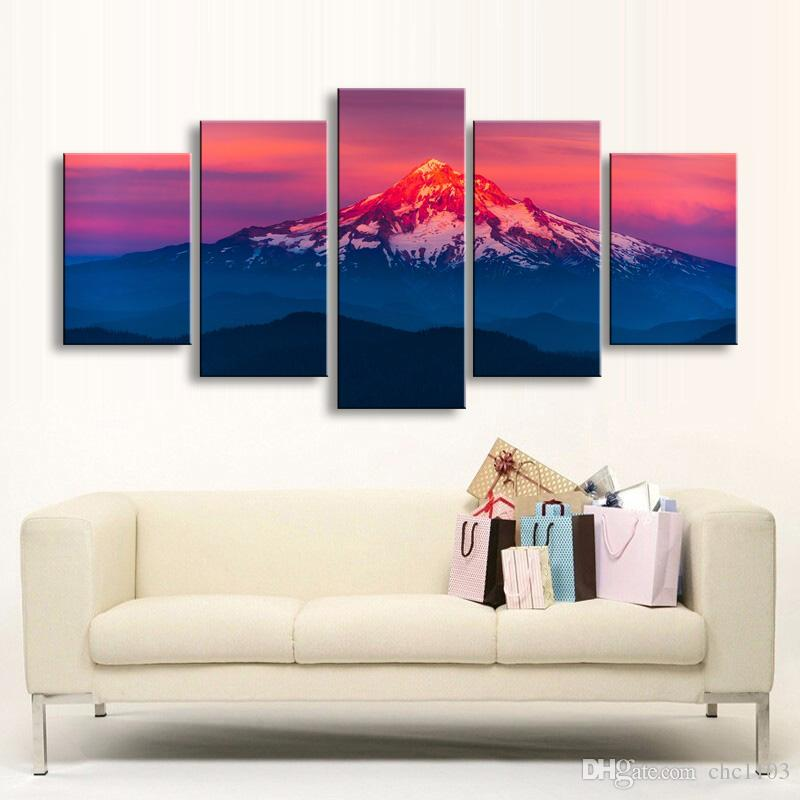 high-definition print forest mountains snow water canvas oil painting poster and wall art living room picture PL5-185