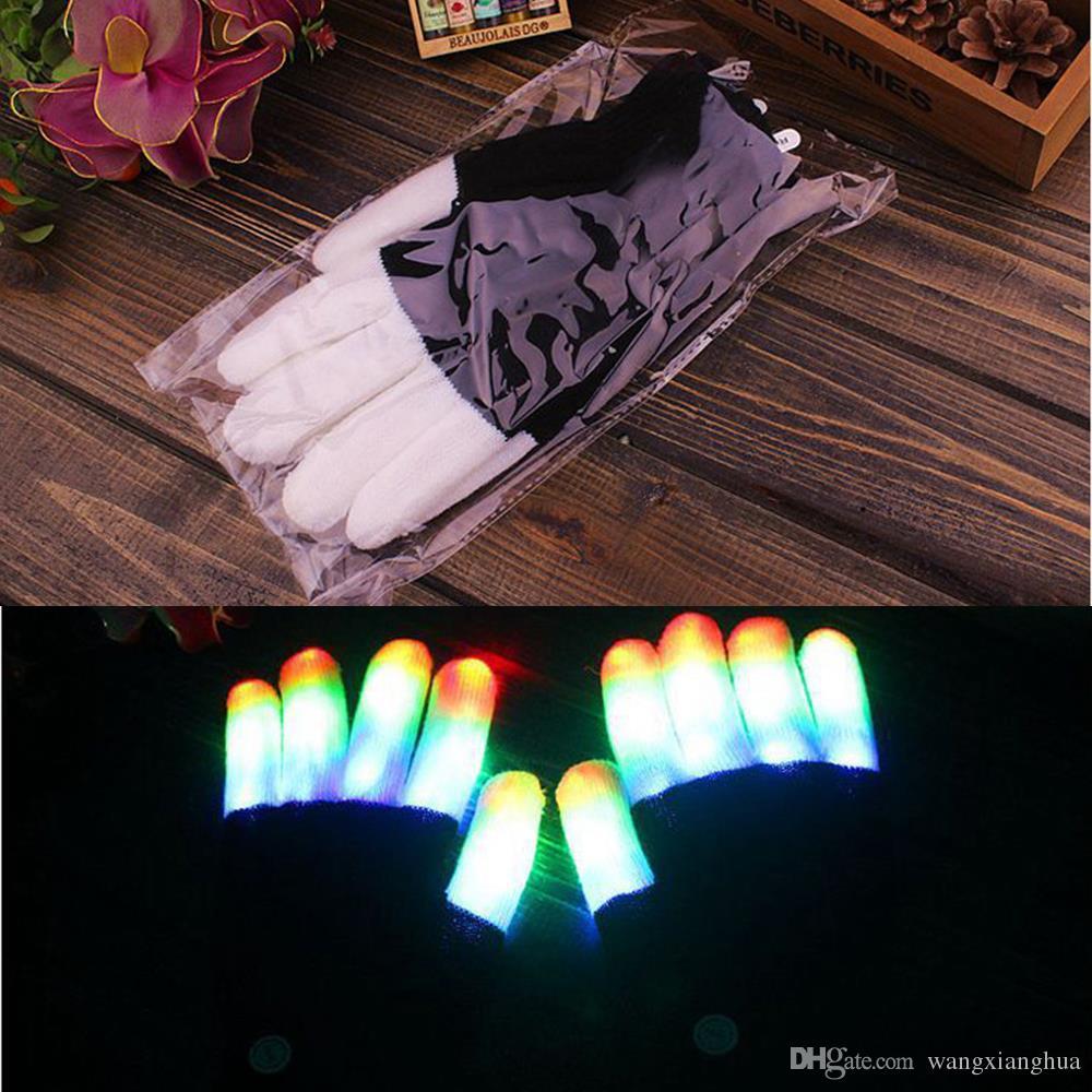 크리 에이 티브 7 모드 LED 손가락 조명 깜박이 글로우 장갑 장갑 레이브 빛 축제 이벤트 파티 용품 빛나는 멋진 장갑