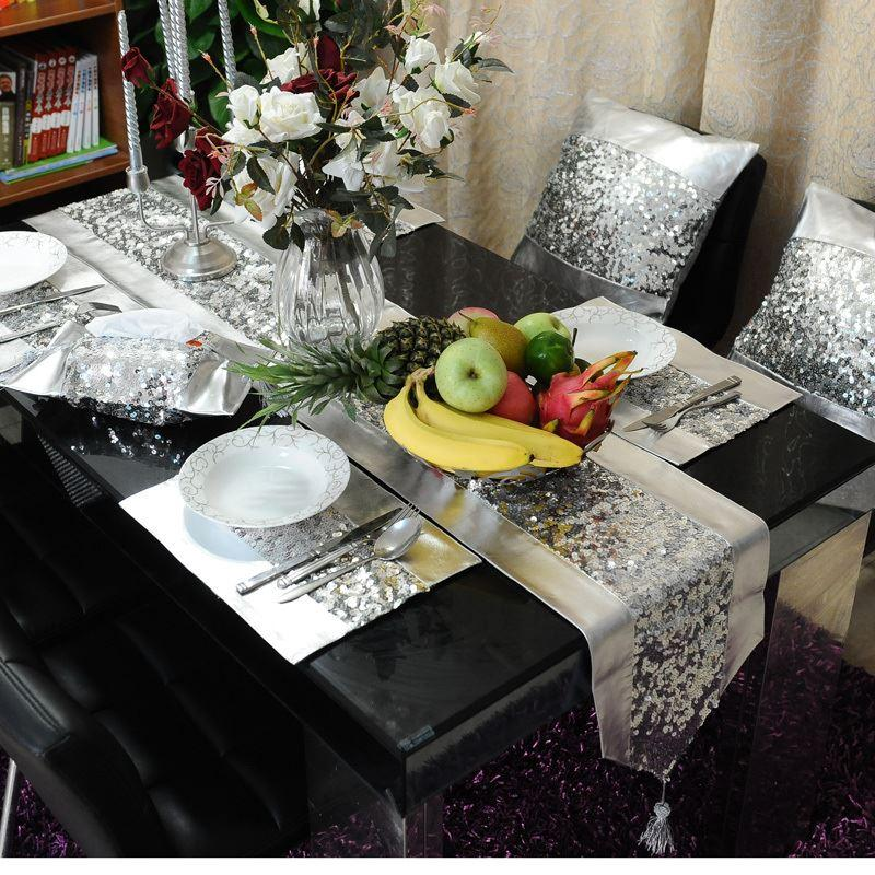 Beau 2015 New Top Fashion Sale Tablecloth Silver Pu Paillette Table Runner  Placemat Pillow Cover Modern Brief Customize Satin Table Runners Short Table  Runner ...