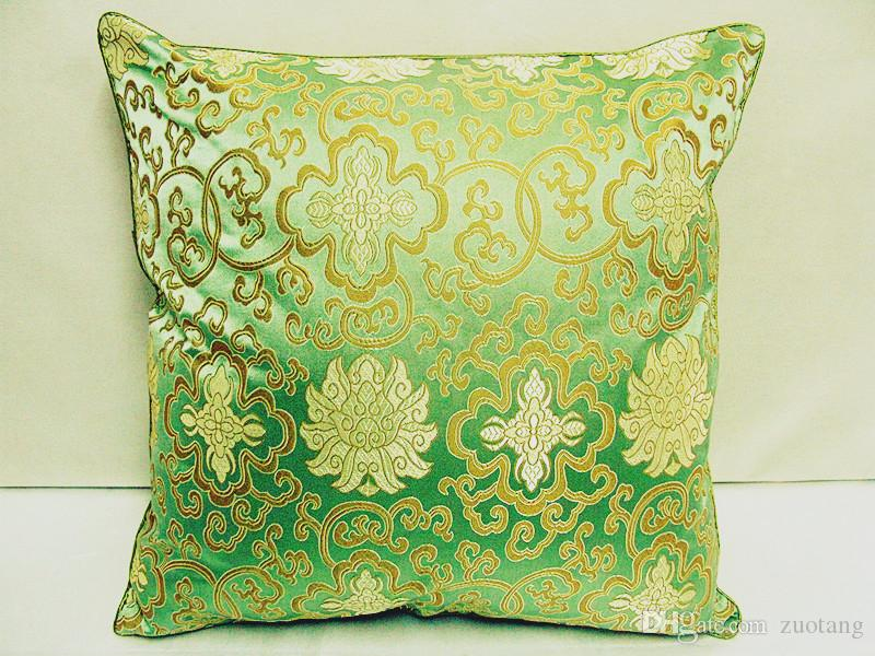 Double sided Flower Pillowcases 17 inch 20 inch 24 inch High End Smooth Silk brocade Cushion Covers for Seat Chair Sofas Office Home Decor