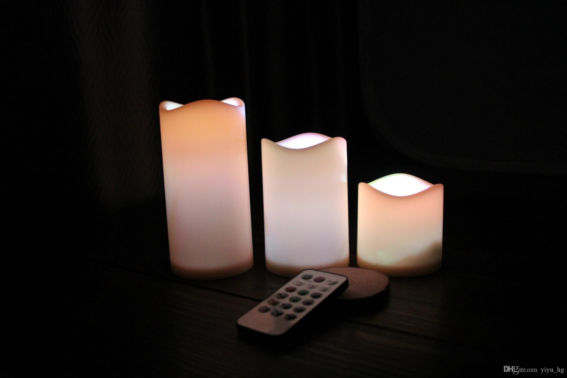 LED Flameless Remote Control -changing Led Candle Light Set Romantic Candle Lamp Wedding gift Christmas Decoration 3 size