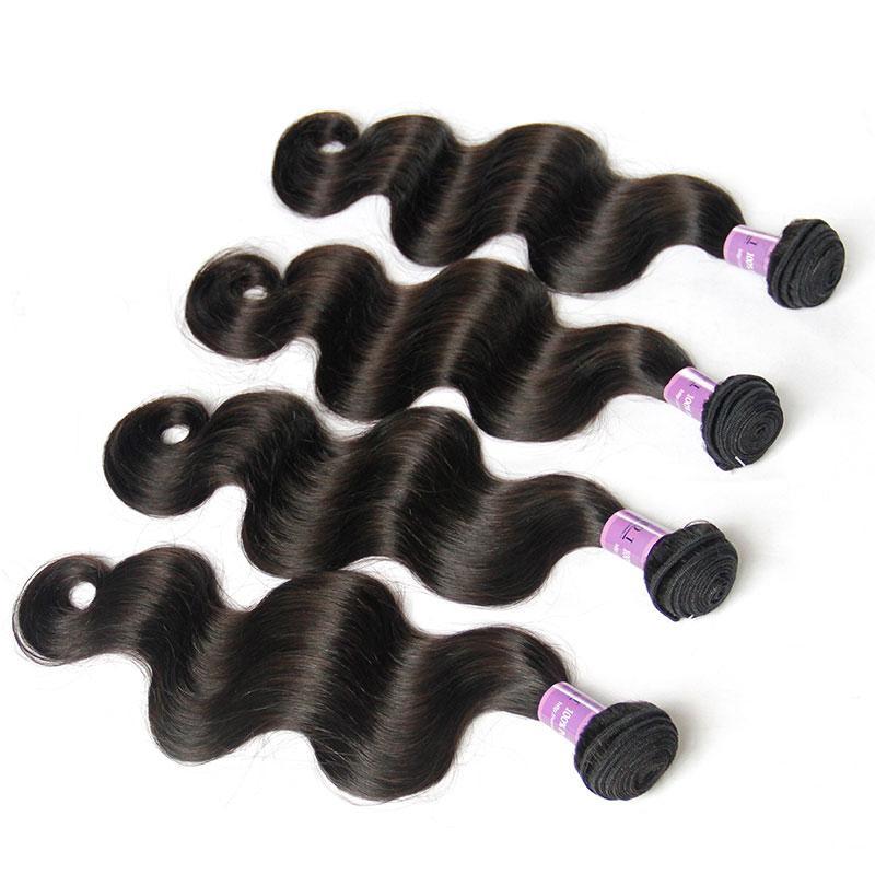 Бразильские девственницы человеческие волосы плетение пучков необработанных бразильских перуанских индийских малайзийских камбоджийских прямых кузовных волн REMY наращивание волос