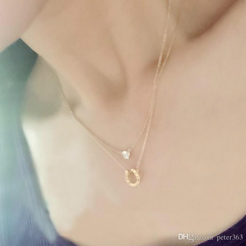 Horseshoe Pendant Necklaces Gold Silver Clavicle Necklace Alloy Pendants With Card Animal Pendants Necklaces Fashion Jewelry