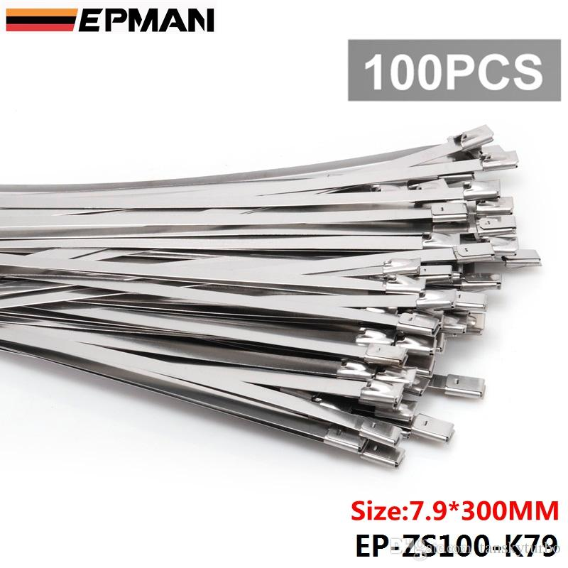 a313757fe243 EPMAN 7.9mm X 300mm Exhaust Heat Stainless Steel Cable Ties Wrap Metal Tie  Extra Long & Wide Large EP ZS100 K79 Custom Exhaust Heat Shield Custom Heat  ...