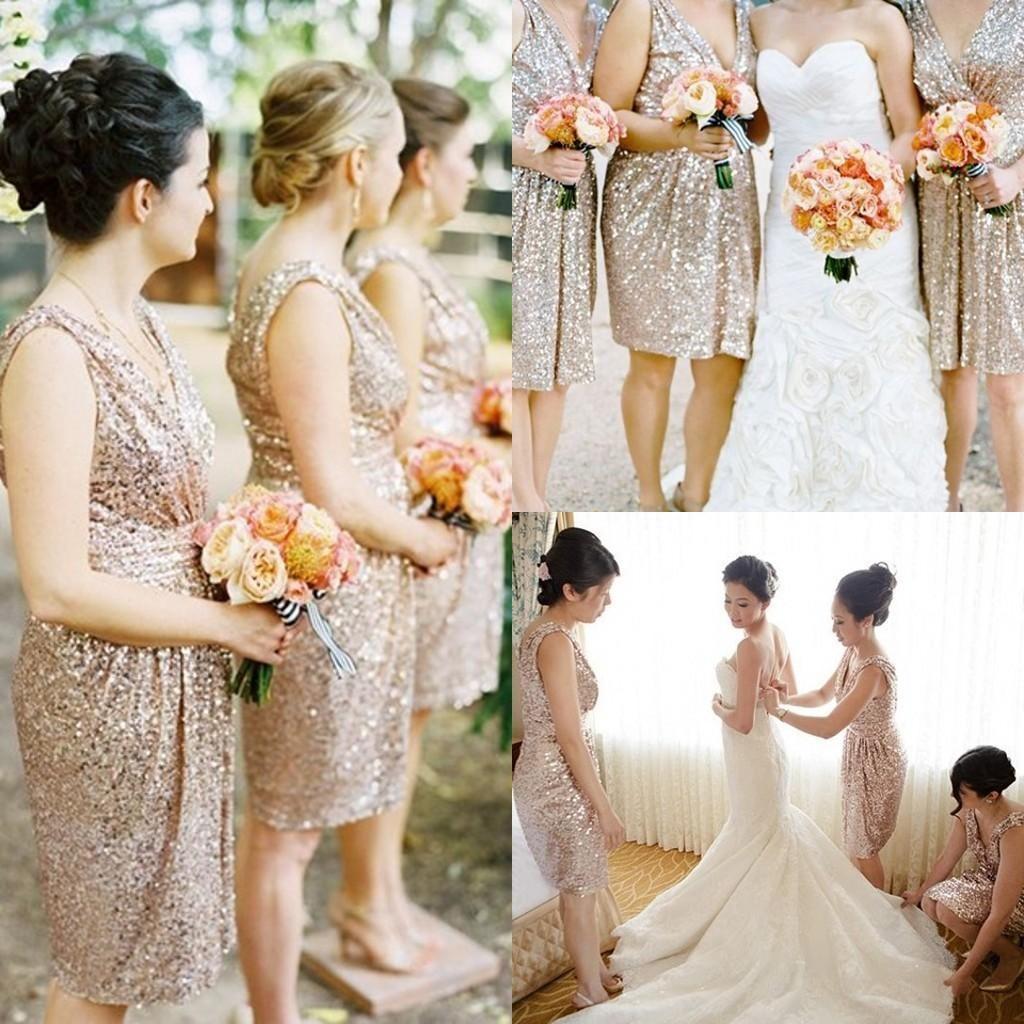 7ecbb71d1ab Bling Rose Gold Cheap 2015 Bridesmaid Dresses Short Sleeve Sequins Backless  Knee Length Beach Wedding Gown Bridesmaid Dresses Short Vintage Bridesmaid  ...