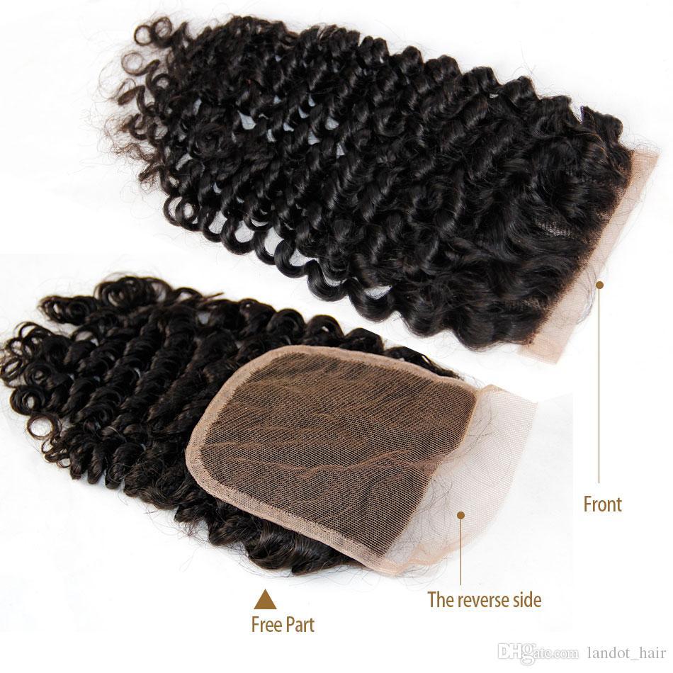 Chiusura brasiliana del merletto dei capelli del riccio brasiliano Parte centrale libera peruviana Chiusure di capelli umani ricci mongoli cambogiani mongoli indiani della malese
