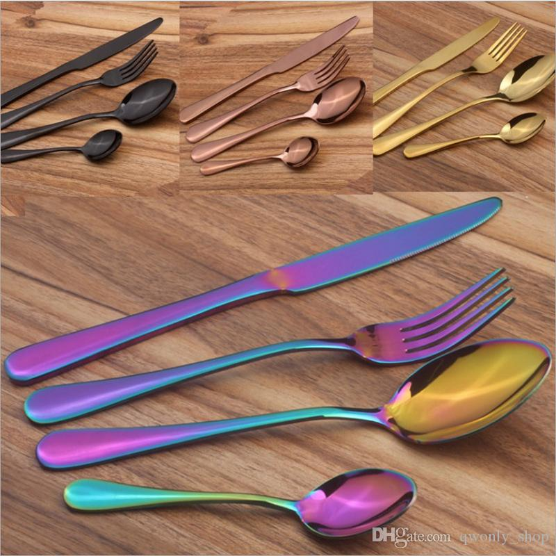 4pcs/lot Gold Cutlery Spoon fork knife tea spoon Matte Gold Stainless Steel Food Silverware Dinnerware Utensil for Restaurant Dinner Hotel
