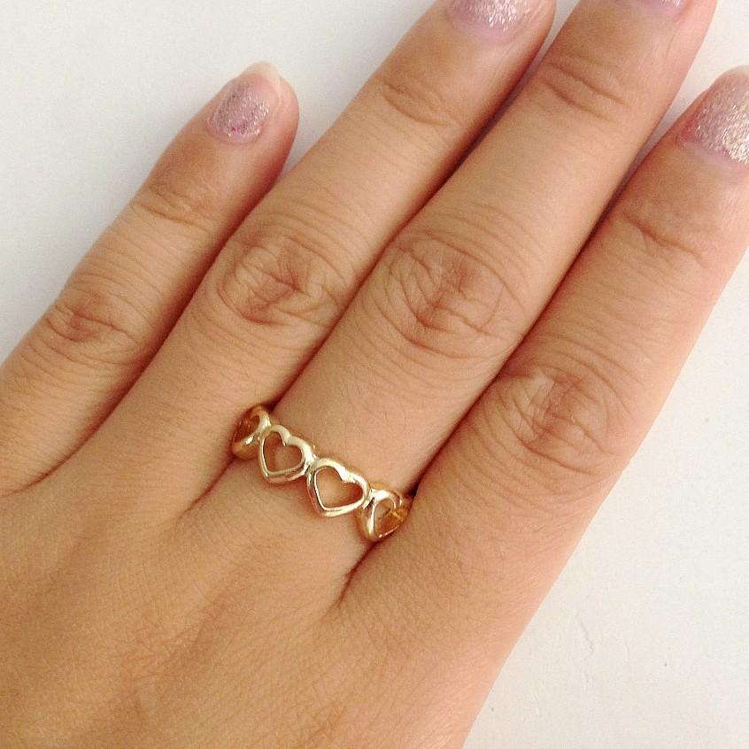 2015 Fashion Women Jewelry Gold Open Heart Band Ring Small Charm
