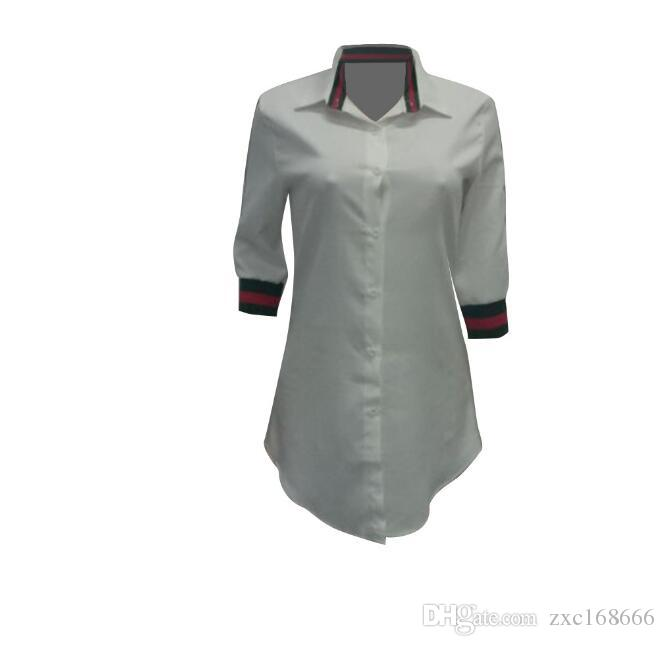 Robes Casual Femmes Blouses T-shirts à manches longues en mousseline de soie Robe de chemise sexy à la mode Robe rayée Club Cardigan en tête Blanc Bleu Rouge