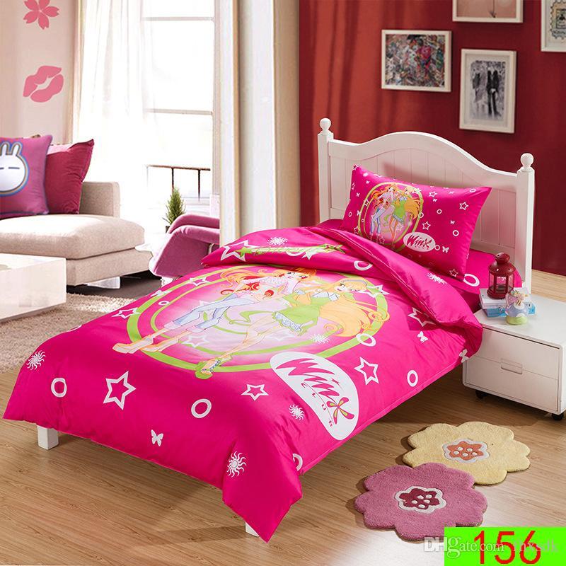 Cartoon Magic Fairy Princess 3/Pcs Kids/Children 3d Bedding Set Twin Size  100% Cotton Duvet Cover+Flat/Sheet+Pillowcases Sets Bedding Sets Queen  Comforter ...
