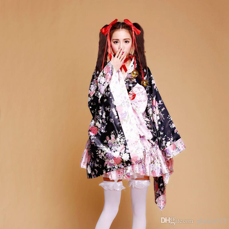 Shanghai Story Japanese Kimono Heavy Sakura Cosplay Anime Outfit Maid Costume Dress Kimono Pink Vestidos set For Women Girl