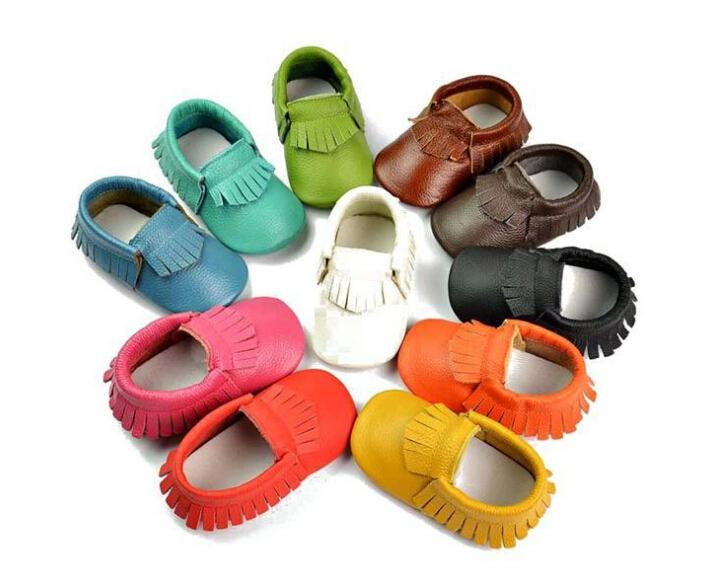 Free Fedex EMS Ship 2015 New Tassels Style Baby Moccasins Soft Moccs Baby Shoes Kids 100% Genuine Cow Leather Newborn Baby Prewalker