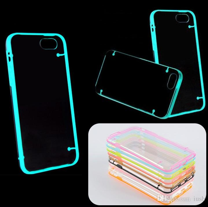 For iPhone 6 6S Plus TPU Case Luminous Transparent Thin Crystal Clear Hard PC Cover For iPhone5 5S 4 4S Cases