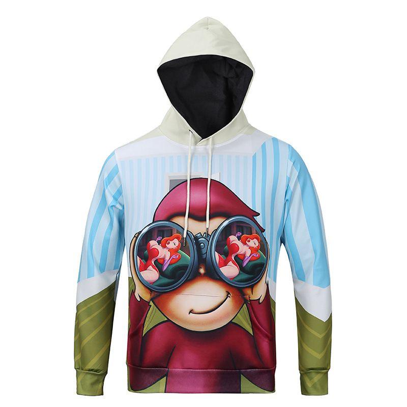 Yeni Marka Tasarım erkekler 3d Hoodies ve Tişörtü Baskı Sigara Adam Bayrak Komik Hayvan Kapşonlu Kış Survetement Homme Marque