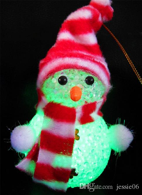 LED flash Snowman + cap scarf Christmas Decorations pendants Christmas Tree Ornament bar party celebration props cartoon kids toy dolls gift