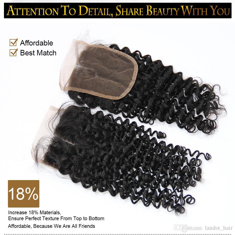 Hint Kıvırcık Dantel Kapatma Ücretsiz Orta Kısmı Hint Virgin İnsan Saç Kapatma 4x4 Doğal Siyah 130% Yoğunluk Kinky Derin Kıvırcık Dantel Kapatma