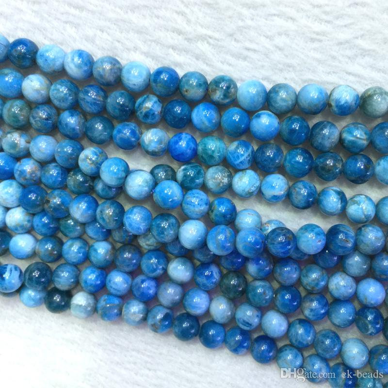 9cba7dd28 Natural Genuine Madagascar Blue Apatite Round Jewellery Loose Ball Beads 6- 12mm 15.5