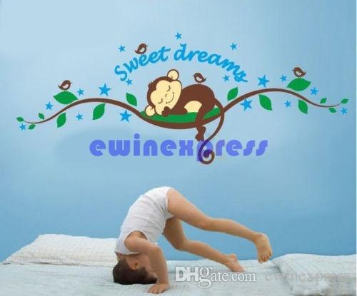 شجرة ملصقات الحائط جدارية صائق للأطفال ديكور المنزل قرد الحلو حلم إزالة الطفل الحضانة الجدران الفن الشارات ملصقات خلفية