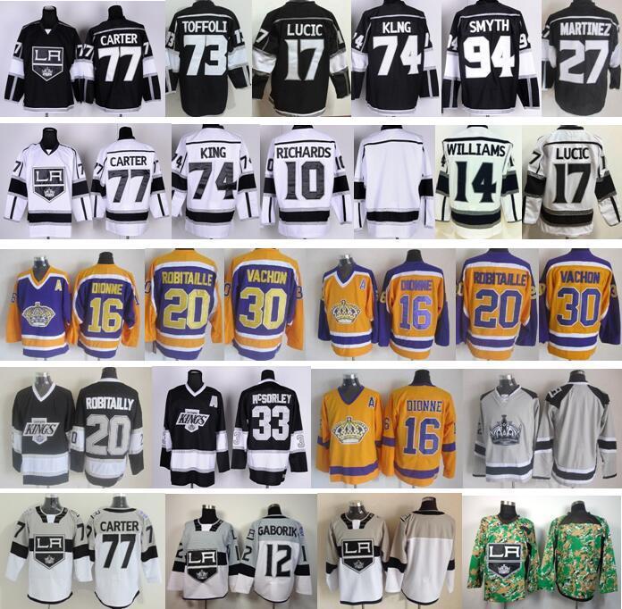 buy popular 837a9 7d7e8 Factory Outlet, Los Angeles Kings Jerseys LA Hockey 17 Milan Lucic 4 Dwight  King 77 Jeff Carter 73 Tyler Toffoli 16 Marcel Dionne 10 Richard