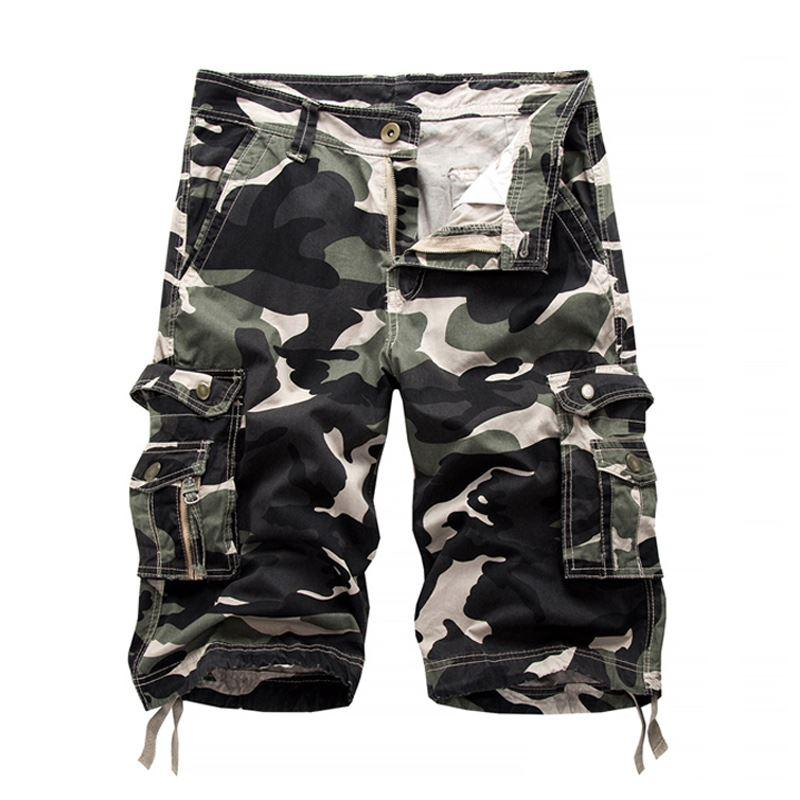 b4c0fd678088 2019 2017 Summer Style Military Camouflage Cargo Shorts Men S Casual Shorts  Fitness Cotton Overalls Male Knee Length Beach Shorts From Marrisha