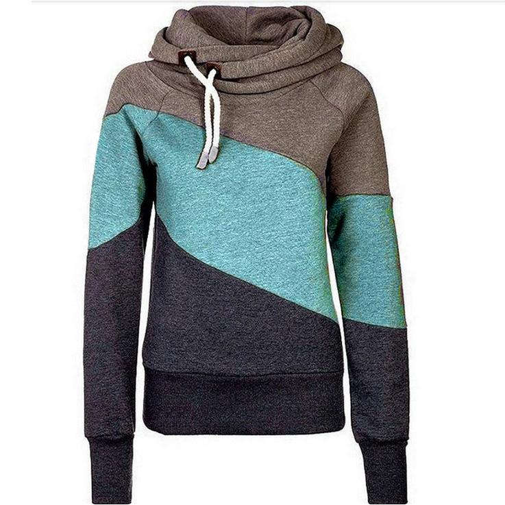 2016 Spring pullover hoodies sweatshirts for women new clothes Korean hit color stitching Slim thin plus thick velvet hoodie sherpa