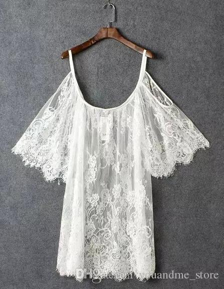 2016 Sexy Delle Donne Abito Abbigliamento Summer Batwing Sleeve Bianco Bianco Bikini Cover Up Casual Plus Size Beach Mini Abiti Costume da bagno Copertura C24