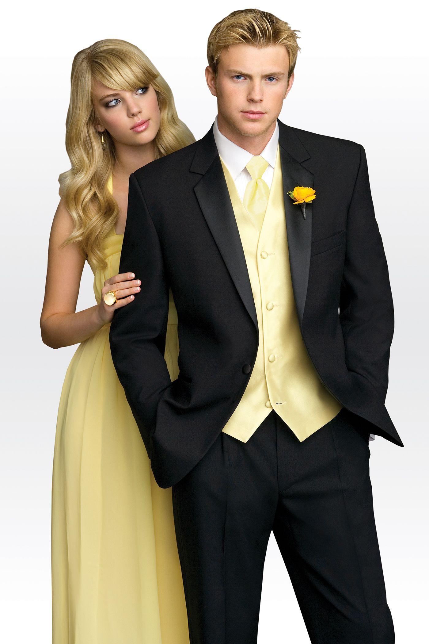 Yellow dress shirt black pants