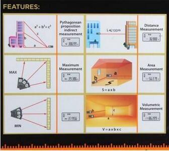 Protable Digital LCD Hand held Laser Distance 40M Diameter Meter Measure Finder Length, area, volume, Pythagorean theorem measurement