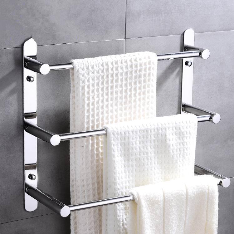 2019 rustproof 304 stainless steel three layers towel bars towel rack mirror finished hand. Black Bedroom Furniture Sets. Home Design Ideas