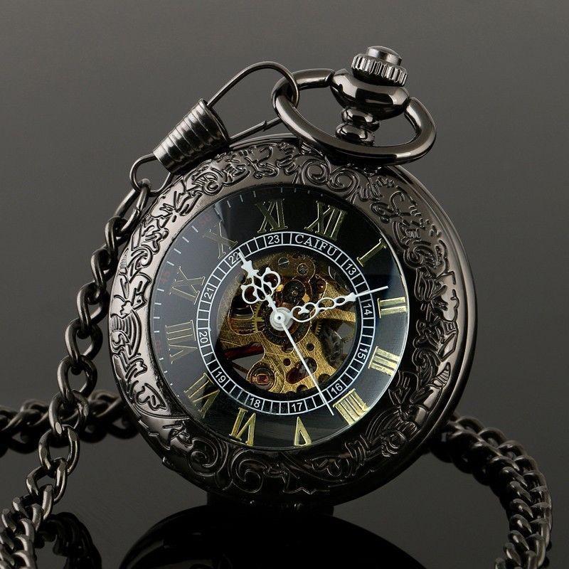 Groothandel 50 stks / partij Heren Perspectief Venster Tungsten Staal Hollow Mechanische Horloges Mechanische Zakhorloge PW050