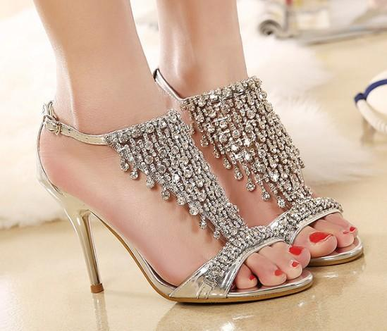 Popular New Silver Wedding Shoes High Heel Shoes Diamond
