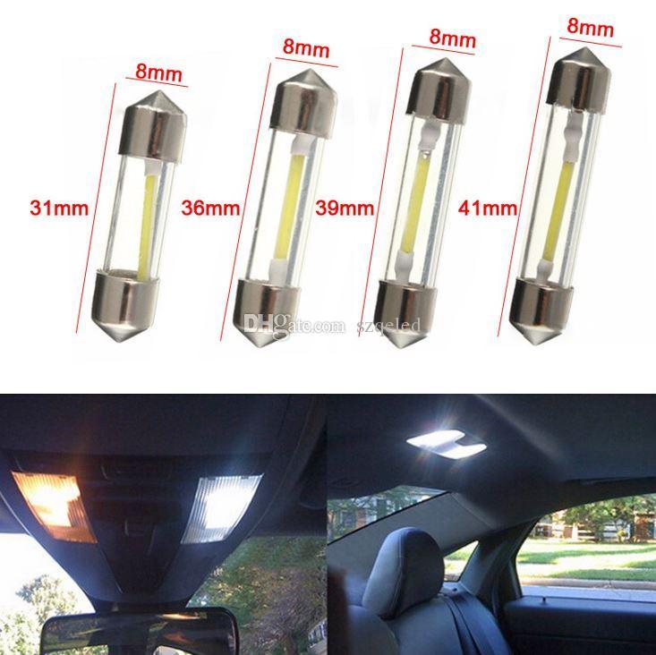 White LED Reading Light COB Chips C5W 31mm 36mm 39mm 41mm Interior Light Dome Lights Led Bulb