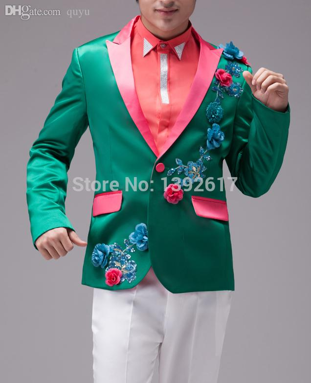 7b0d6403edb 2019 Wholesale Free Ship Mens Green Sequins Rhinestone Floral Embroidery  Tuxedo Suit