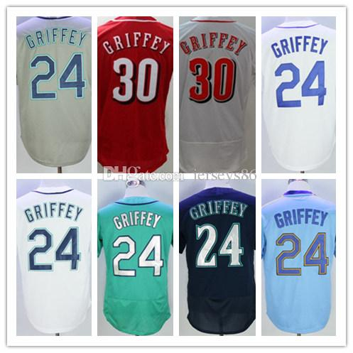 7b5da5759e3 24 Ken Griffey Seattle Baseball Jerseys Team Cream Blue White Gray ...